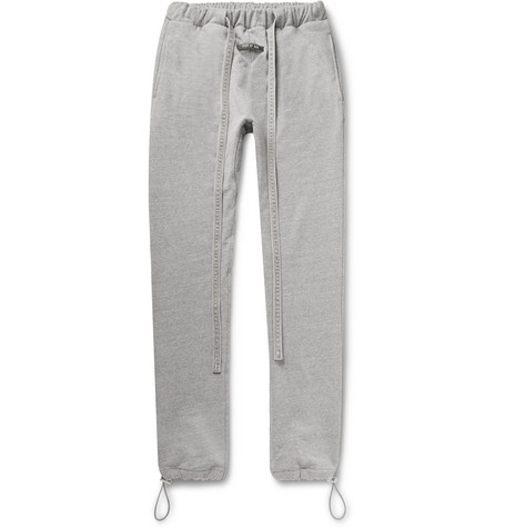 Slim Fit Tapered Mélange Loopback Cotton Blend Jersey Sweatpants by Fear Of God