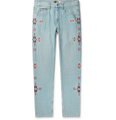 Isabel Marant Jasper Slim-Fit Embroidered Denim Jeans