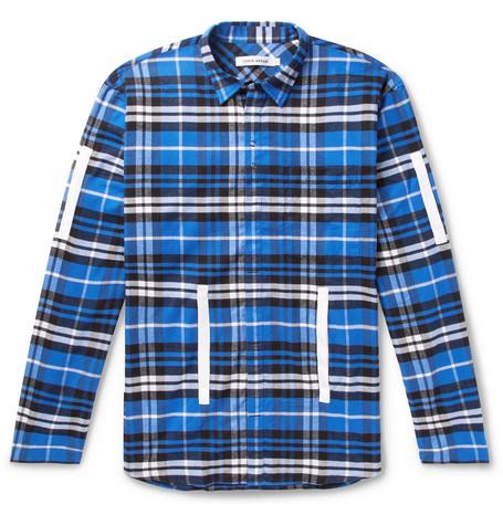 Craig Green T-shirts GROSGRAIN-TRIMMED CHECKED COTTON-FLANNEL SHIRT