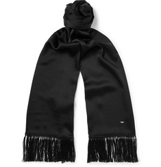 SAINT LAURENT - Fringed Silk Scarf