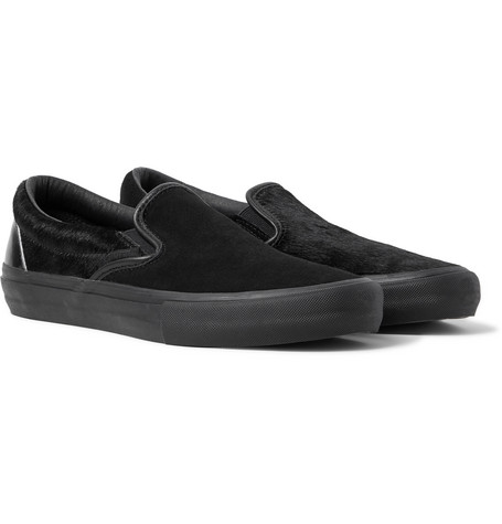 Vans + Engineered Garments Vault LX Calf Hair, Suede and Leather Slip-On Sneakers