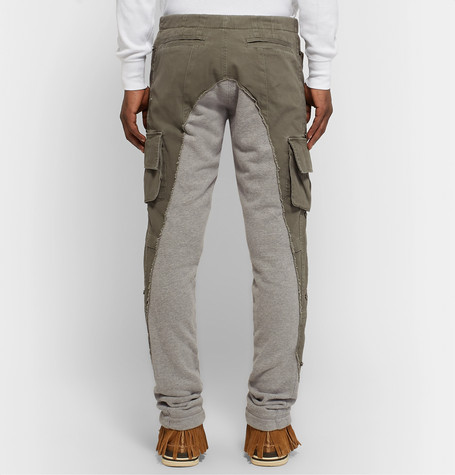 Greg Lauren Pants TAPERED COTTON TWILL-PANELLED MÉLANGE LOOPBACK JERSEY SWEATPANTS