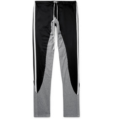 Greg Lauren Grosgrain-Trimmed Satin and Jersey Drawstring Sweatpants