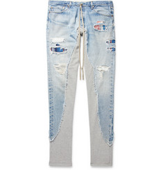 Greg Lauren Panelled Denim, Cotton-Canvas and Loopback Jersey Sweatpants