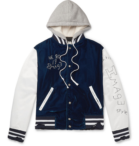 Greg Lauren Jackets DISTRESSED EMBROIDERED VELVET, SATIN AND JERSEY HOODED BOMBER JACKET