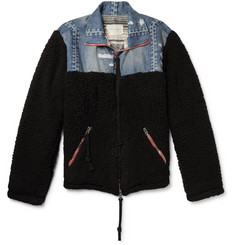 Greg Lauren Panelled Distressed Denim and Fleece Jacket
