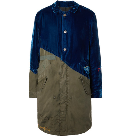 Greg Lauren Tops EMBROIDERED CANVAS AND VELVET PARKA