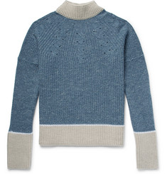 Jacquemus Pierre Distressed Colour-Block Ribbed Merino Wool Sweater