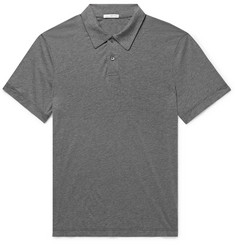 James Perse Mélange Cotton and Cashmere-Blend Polo Shirt