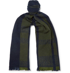 Incotex Fringe Striped Virgin Wool-Blend Scarf