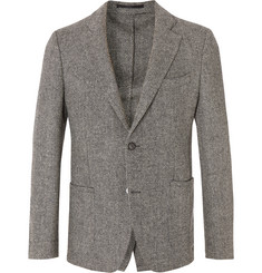 Officine Generale Grey Slim-Fit Herringbone Wool Blazer