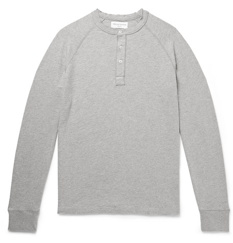 Officine Generale Mélange Loopback Cotton-Jersey Henley T-Shirt