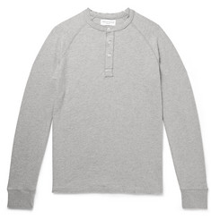 Officine Generale - Mélange Loopback Cotton-Jersey Henley T-Shirt