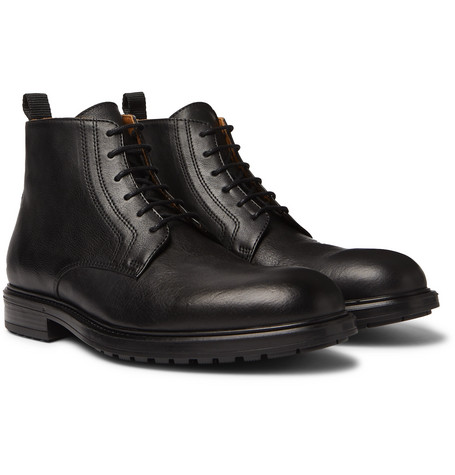 Officine Generale Full-Grain Leather Boots In Black