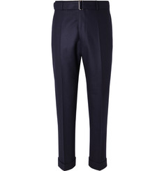 Officine Generale Navy Ollie Tapered Cropped Belted Wool-Flannel Trousers