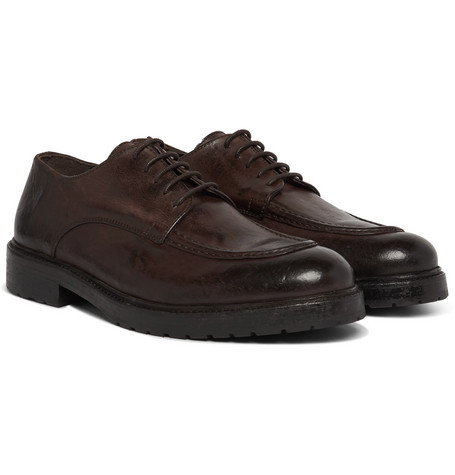 Officine Generale Burnished-leather Derby Shoes In Brown
