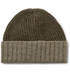 Margaret Howell Colour-Block Ribbed Wool Beanie
