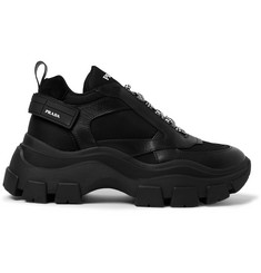 Prada Suede and Rubber-Trimmed Leather and Nylon Sneakers
