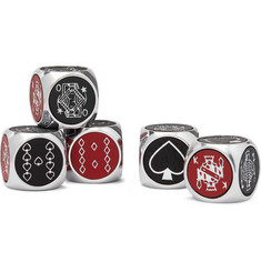 William & Son Aluminium and Leather Poker Dice Set
