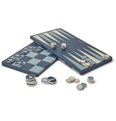 William & Son Reversible Leather Backgammon and Chess Board