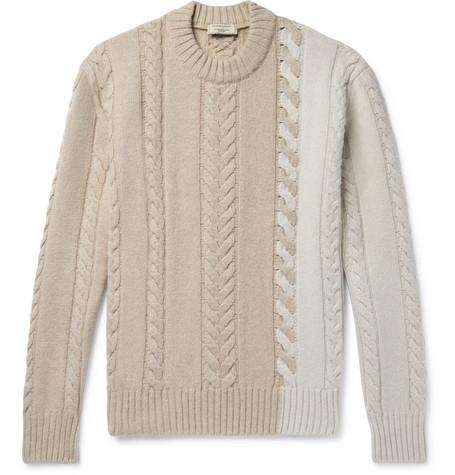 Maison Kitsuné Colour-Block Cable-Knit Wool Sweater