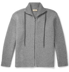 Maison Kitsuné Ribbed Lambswool Zip-Up Cardigan