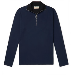 Maison Kitsuné Slim-Fit Logo-Embroidered Tech-Jersey Half-Zip Sweatshirt