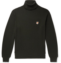 Maison Kitsuné Slim-Fit Logo-Appliquéd Wool Rollneck Sweater
