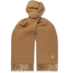 Maison Kitsuné Logo-Appliquéd Fringed Virgin Wool Scarf
