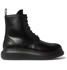 Alexander McQueen Exaggerated-Sole Spazzolato Leather Boots