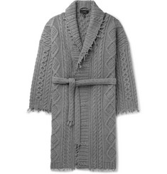 Alanui - Fringed Cable-Knit Cashmere and Wool-Blend Cardigan
