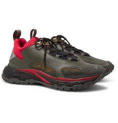 Valentino Valentino Garavani Trekking Leather, Suede, Neoprene and Coated-Ripstop Sneakers