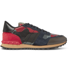 Valentino Valentino Garavani Rockrunner Suede, Leather and Canvas Sneakers
