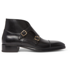 TOM FORD Sutherland Leather Monk Strap Boots