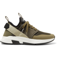 TOM FORD Jago Neoprene, Suede and Mesh Sneakers