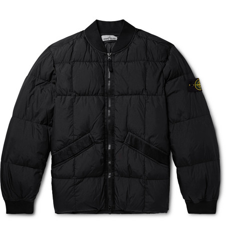 Garment Dyed Quilted Crinkle Reps Nylon Down Bomber Jacket by Stone Island