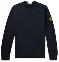 Stone Island - Logo-Appliquéd Garment-Dyed Fleece-Back Cotton-Jersey Sweatshirt