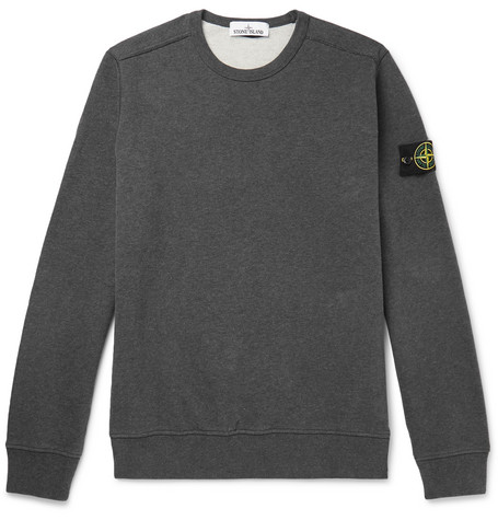 Logo Appliquéd Garment Dyed Fleece Back Brushed Cotton Jersey Sweatshirt by Stone Island