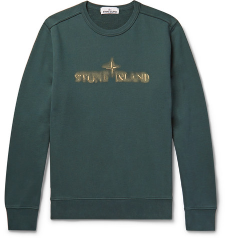 Stone Island Garment-dyed Logo-embroidered Loopback Cotton-jersey Sweatshirt In Green