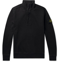 Stone Island Garment-Dyed Fleece-Back Cotton-Jersey Half-Zip Sweatshirt