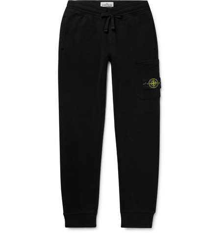 Logo Appliquéd Slim Fit Tapered Fleece Back Cotton Jersey Sweatpants by Stone Island