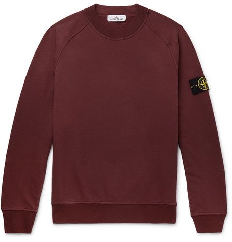 Logo Appliquéd Garment Dyed Fleece Back Stretch Cotton Jersey Sweatshirt by Stone Island