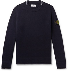 Stone Island Contrast-Tipped Logo-Appliquéd Wool-Blend Sweater