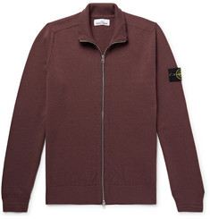 Stone Island Logo-Appliquéd Wool-Blend Zip-Up Cardigan