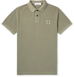 Stone Island Slim-Fit Logo-Appliquéd Garment-Dyed Cotton-Piqué Polo Shirt