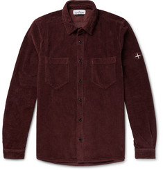 Stone Island Logo-Embroidered Cotton-Corduroy Overshirt