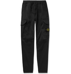 Stone Island Tapered Garment-Dyed Stretch Cotton and Wool-Blend Cargo Trousers
