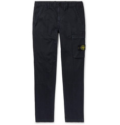 Stone Island Navy Slim-Fit Logo-Appliquéd Garment-Dyed Stretch-Cotton Twill Trousers