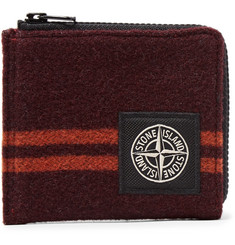 Stone Island Logo-Appliquéd Striped Wool-Blend Zip-Around Wallet