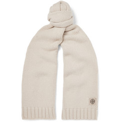 Stone Island Logo-Appliquéd Virgin Wool Scarf